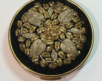 Treasures of India by Schildkraut Vintage Tapestry Mirror Compact