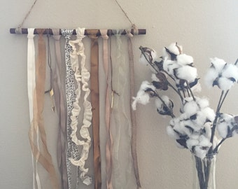 Reclaimed Wood, Ribbon, and Arrow Charm Wall Hanger