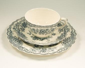 Crown Ducal Bristol No 762055 tea cup trio, tea cup and saucer plate set, Asian Pheasants, Dove Grey