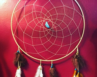 """20"""" Dreamcatcher with stone and real feathers"""