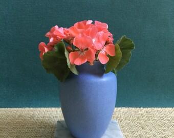 Vintage Matte Cornflower Blue Vase//Gifts for Her//Art Pottery