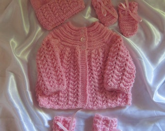 Hand Knitted Jacket Hat Bootees Mittens