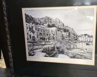 "Je Paese Del Sole:  Beautiful Intricately Detailed Art on Silk by Giuseppe ""Mario"" D'Amico, from Italy, signed and titled by the artist"
