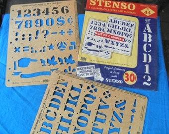 "Vintage 1950's Stencil set 1"" Roman Letters Stenso original packaging Repurpose Collectible"