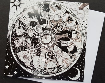 Astrology Signs, The Zodiac Wheel Greetings Card from an Original Pen Drawing by Kate Bedell