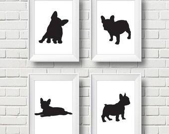 Minimalist Black French Bulldog Silhouette 4 Wall Art. Modern Dog Print Frame Work. Dog Silhouettes. Set of 4. Size 5x7