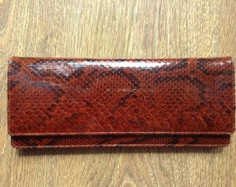 Pure snake skin clutch, retro evening clutch, brown leather woman clutch