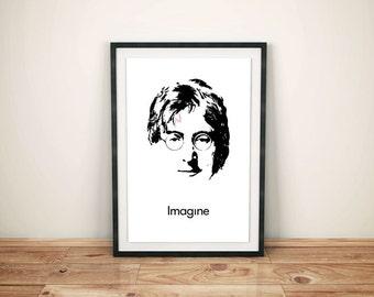 """John Lennon Black & White """"Imagine"""" Harry Potter Poster - Music Poster - Poster Print - Wall Art - Graphic Design"""