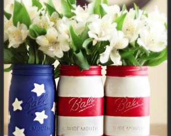 Vintage Patriotic Ball Mason Jars