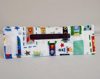 Printed Fabric Zipped Wrist Wallet Coin Purse Key Cuff - Space Stars Spaceship White