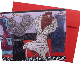 Art note card   'The Fur Stole'