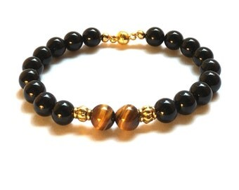 Tigers Eye and Black Agate/Obsidian bracelet