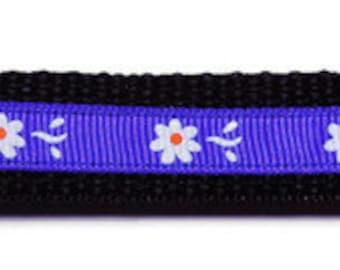 Medium White/Purple Flower Dog Collar