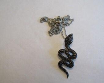 Vintage Sterling Silver & Pave Black Diamonds Snake Pendant Necklace