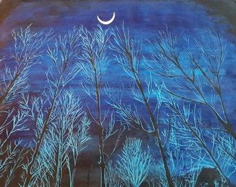 Moon over night trees print of original acrylic painting.