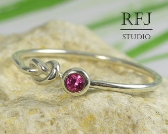 Knot Lab Ruby Sterling Ring, Pink Cubic Zirconia 2 mm Silver Friendship Ring Simulate Pink Ruby Love Promise Ring, 925 Silver Tiny Ruby Ring