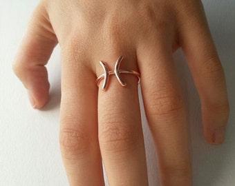 Horoscope Zodiac Ring- Zodiac Sign Ring- Astrology Jewelry- Horoscope Ring- Pisces Ring- Astrological sign ring- Zodia Rings- Rose Zodiac