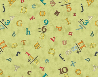 "Nursery Fabric: Sunshine Zoo Kids educational fabric- mathematic Numbers and alphabet on Green 100% cotton Fabric by the yard 36""x43"" (A205)"
