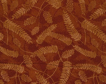 """Leaf Fabric: Fabri-Quilt Autumn in The Forest Tonal Brown Leaves Toss - feuille morte fern leaf 100% cotton fabric by yard 36""""x43"""" (J55)"""