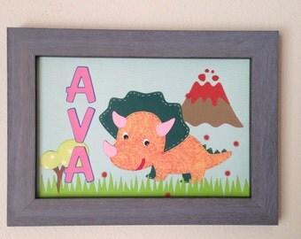 Nursery name sign, Nursery decor, Kids room, Dinosaur Baby name, Safari animals, Baby shower,  Baby gift,  Baby Girl, AVA, UNFRAMED