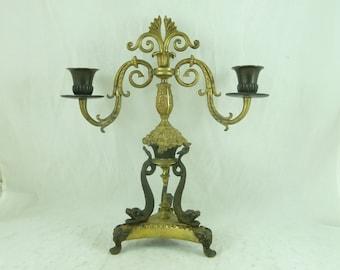English Regency Bronze Candelabra Ormolu Gilt Brass Dolphin Candlestick Antique