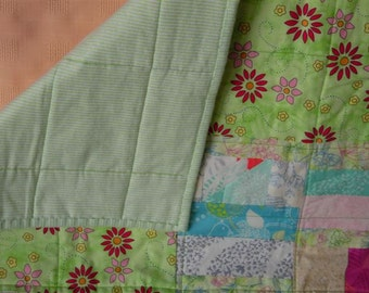 Scrappy Baby Quilt -- Light Green and Pastels