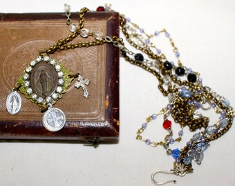 Blessed Remnants, vintage assemblage necklace, rosary, religious, repurposed