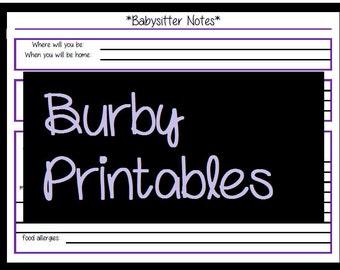 Babysitter Planner Printable