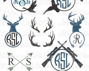 SALE! Deer, Bird, Bow, and Hunting SVG, DXF, jpg, png, pdf cut file, Deer Antlers svg , Hunting Monogram svg, Hunting Monogram Frame svg
