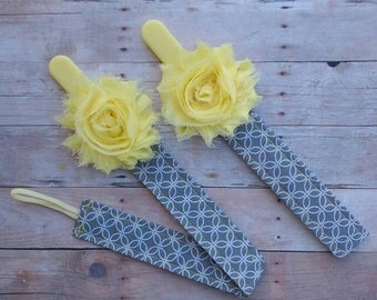 Yellow Shabby Flower Pacifier Clip/leash