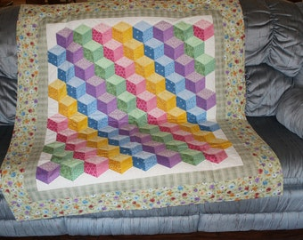 Tumbling Block Baby Quilt