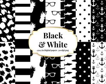Black and White 12 x 12 Digital Paper