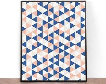 Geometric Art Print, Printable Wall Art, Wall Art, Digital Download, Screenprint, Triangle art print, Geometric, Blue and pink