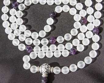 Exclusive Prayer Mala 108 Beads 12mm Frosted Rock Crystal Grade AAA and Amethyst Grade AA