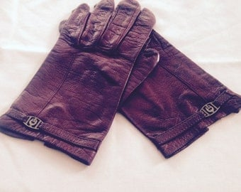 Vintage Etienne Aigner Burgundy Leather Gloves