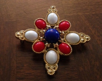 Vintage Red, White and Blue Sarah Coventry Pin
