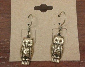 Gold Plated Owl Dangle Earrings