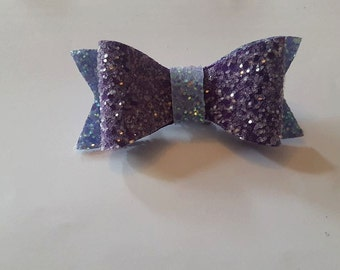 lilac and deep purple glitter bow