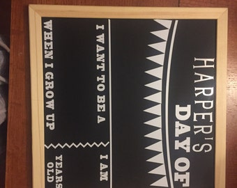 """My first day of chalkboard, flip over cardstock to say """"last"""" day, 12x12 magnetic chalkboard, personalized"""