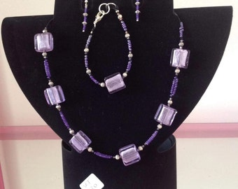 Handmade beaded necklace, bracelet and earing set
