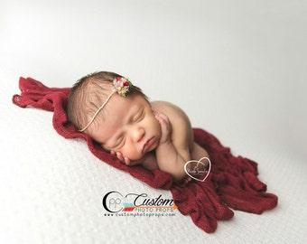 Raine Red Flower Tie Back Headband Photo Prop, Newborn Tie Back Headband Photo Props, Newborn Baby Props, Custom Photo Props, Baby Girl