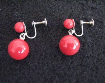 Vintage red dangle screw back earrings