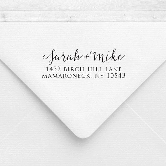 Return Address Stamp Calligraphy Handwriting Font Handle