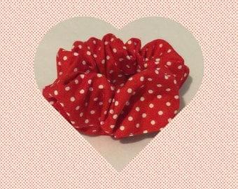 Red & White Polka Dot Top Knot Scrunchie
