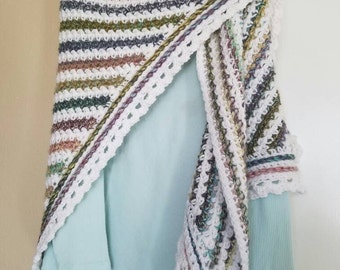 Beautiful pastel and white multicolored shawl