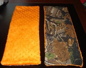 Set of 2 Camo/Orange Baby Burp Cloths