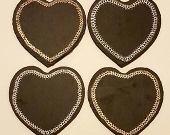 Hand Painted, Heatshaped Slate Coasters. Set Of 4.