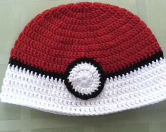 Pokemon Hat, Pokemon, Pokemon Go, Pokeball Hat, Crochet Pokeball Hat, Crochet Pokemon Hat, Pokemon Gift