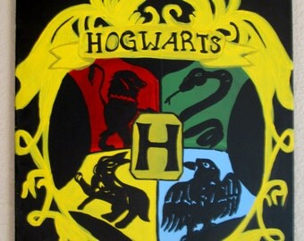 Hogwarts crest painting- 16X20 inch acrylic painting on raised canvas- Ready to Hang!