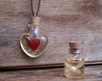 Legend of Zelda: Heart Container & Bottled Fairy - set of bottled potion necklace, charm